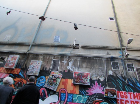 Shoes on a wire. Hosier Lane, Melbourne, Australia